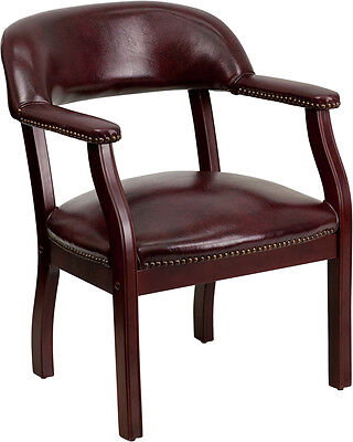 Lot Of 10 Burgundy Vinyl Guest Side Office Chairs