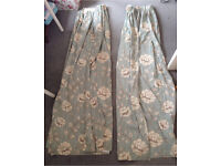 Duck egg floral curtains
