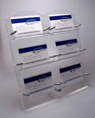 NEU! 6-Fach Visitenkartenständer mit Metallfuß aus Acrylglas,Visitenkartenhalter