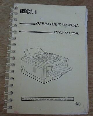 Ricoh Fax 2700L Operator's Manual