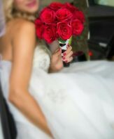 4 red roses wedding bouquet