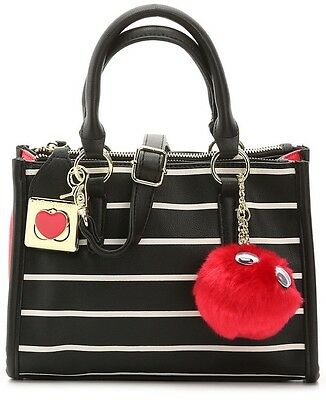 $98 NEW BETSEY JOHNSON mini Satchel Bag Purse Black, red & White Stripes NWT