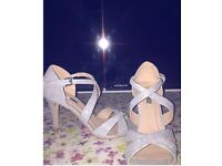 Silver glittery high heels worn once size 5