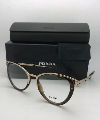 New PRADA Eyeglasses VPR 53U 2AU-1O1 52-19 145 Tortoise and Gold Cat Eye Frames
