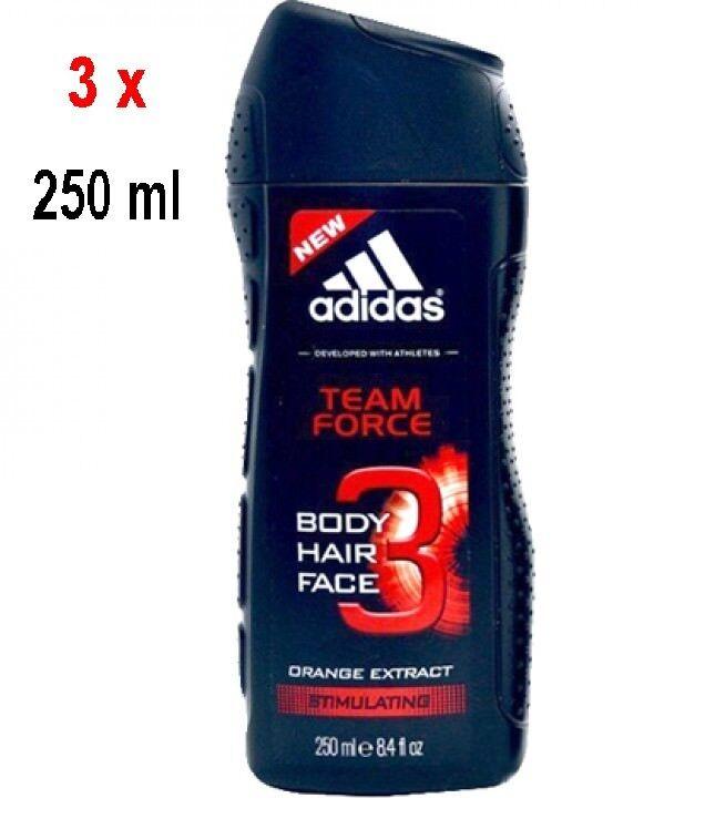 19,93€/L - 3x Adidas Men Duschgel TEAM FORCE 2in1 250 ml