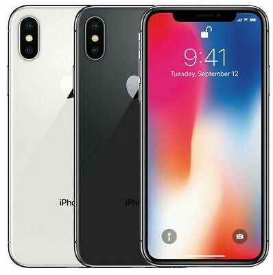 Apple iPhone X - 64GB - Silver Gray (Unlocked) T-mobile AT&T Verizon Sprint C