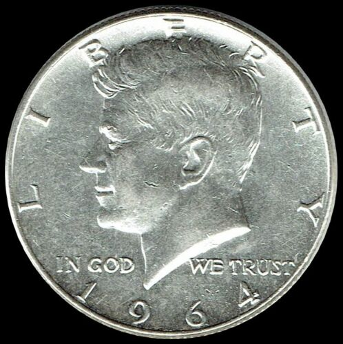 """1964 D Kennedy Half Dollar 90% SILVER US Mint Coin """"About Uncirculated"""""""