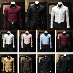 NWT-Mens-Casual-Luxury-Stylish-Slim-fit-Stylish-Dress-Shirt-4size-8Colors-h539