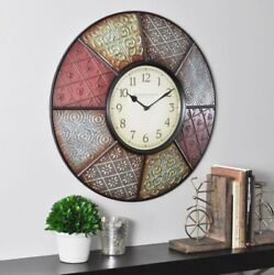 Round Patchwork Analog Wall Clock 20.5 Multi-Color Paneled Style Modern Decor