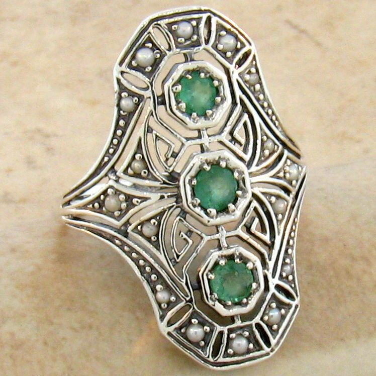 GENUINE EMERALD & PEARL .925 STERLING VINTAGE ART DECO STYLE SILVER RING,   #753