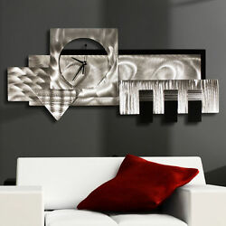 Metal Wall Art Modern Clock Silver Black Contemporary Art Deco by Jon Allen