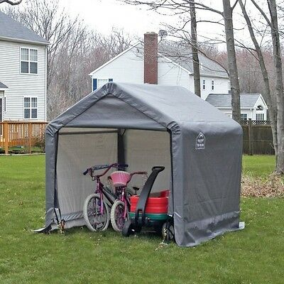 Portable Storage Shed Canopy Garden Outdoor Shed-In-A-Box 6x6 Backyard Steel New