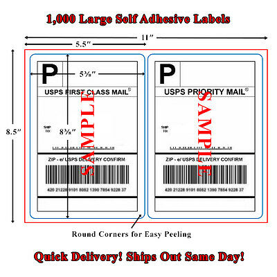 1000 Premium Rounded Corner Shipping Labels - 2 Per Sheet - 8.5x11 Self Adhesive