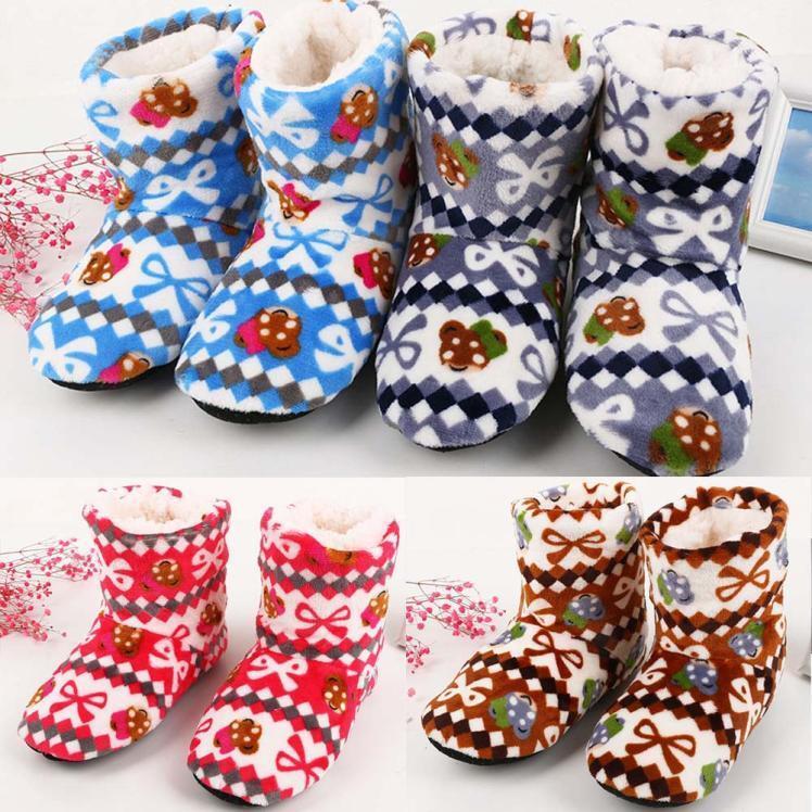 Women Ladies Cotton Warm Indoor Slippers Soft Plush Christmas Socks ON mt