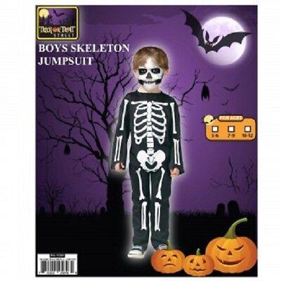 Trick or Treat Street Boys Skeleton Jumpsuit Size 5-6 New - Skeleton Boy Costume