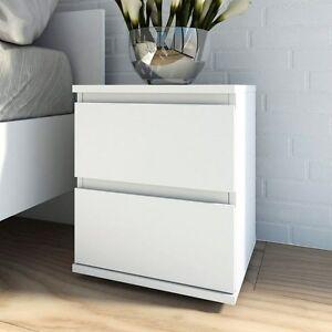 Tvilum Nova Collection Bright 2-Drawer Nightstand in White Finish, 7109249 New