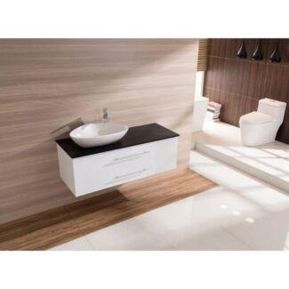 1200mm Wall Hung Bathroom Vanity Unit With Stone Top, Basin - Del