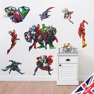 Superhero Wall Stickers EBay - Superhero vinyl wall decals