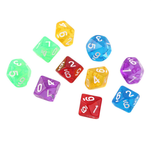 10pcs/Set Games Multi Sides Dice D10 Gaming Dices Game Playing 5 Color IM
