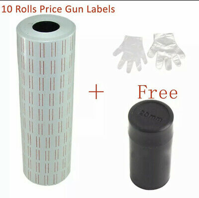 10 Rolls 6000pcs White Price Gun Labels For Mx-5500free Refill Ink Roll