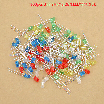 100pcslot Red Blue Yellow 3mm 2 Pins Round Bright Led Light Emitting Diode Lamp