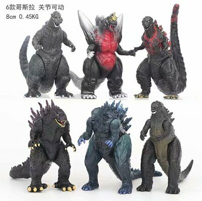 6pcs/set Monsters Godzilla 8cm PVC Action Figure Toy Gift New No Box