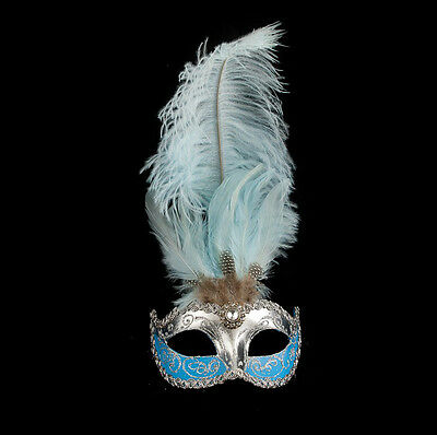 Mask from Venice Colombine in Feathers Ostrich Blue Silver Mask Venetian - 493