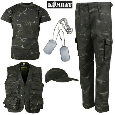 Kombat Kids T-Shirt Trouser Vest Baseball BTP Black British Army Costume Unform - British Army Costume