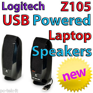 Logitech USB Laptop Speakers Speaker Z105 Stereo Laptop PC Mac USB Powered  New