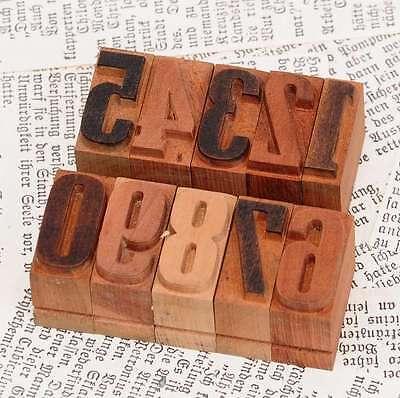 0-9 Zahlen 27mm Holzlettern Lettern Holzzahlen Zahl Vintage Stempel Holzstempel
