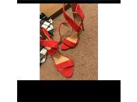 Brand new, unworn Ladies size 5, red heels / shoes / sandals