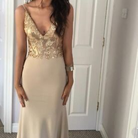 Gold Formal/Evening Dress, size 8, fitted floor length, backless with sequin detail