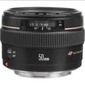 Brand New Canon EOS EF USM 50mm f/1.4 Digital Camera Lens