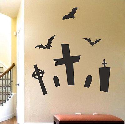Graveyard Wall Decals Wallpaper Halloween Silhouettes Decorations Vinyl, h28 - Halloween Monster Silhouettes