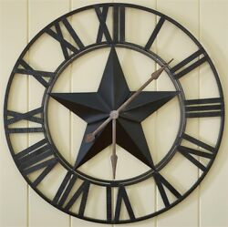 STAR OVERSIZED WALL CLOCK CRAFTED FROM IRON 2H X 35DIA BY PARK DESIGN