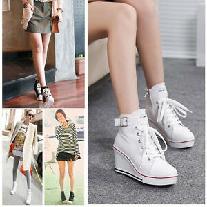Womens-Korean-Wedge-Heel-High-Top-Canvas-Sneakers-Lace-Up-Shoes-Ankle-Boots-S5