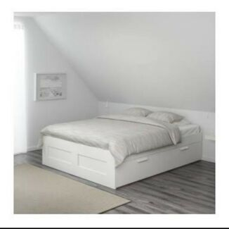 Queen white bed with storage
