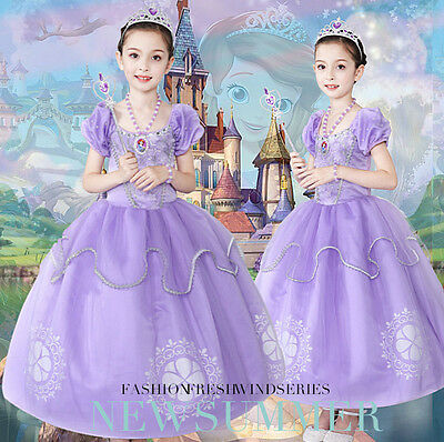 Kids Halloween Costume Girl Sofia The First Cosplay Princess Party Fancy Dress (Sofia The First Dress)