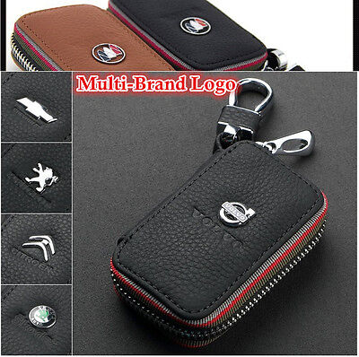 Multi-Brand Men Women Genuine Cow Leather Zip Car Key Bag Chain Ring Case Holder