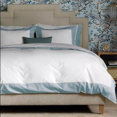 NEW! $650 Dwell Studio MODERN BORDER Blue Mist FULL QUEEN Bedding Set Duvet