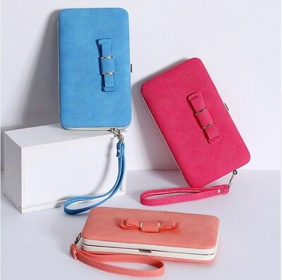 Closeout Cheap Charminer Bow Clutch Wallet Women Purse Folio Case with Strap