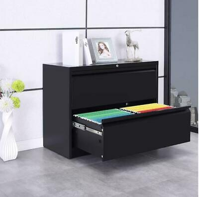Home Office Lateral Heavy Duty Metal Storage Filing Cabinet W2 Drawers Locking