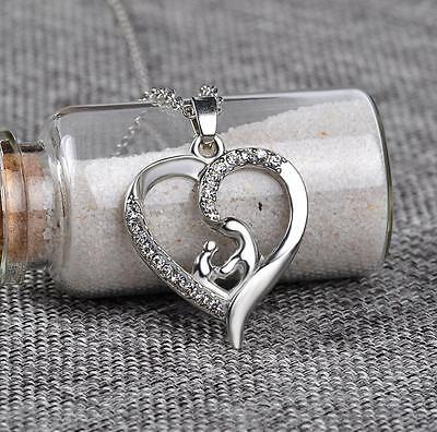 1PC Charm Silver Mother and Son Deep LOVE Pendant Alloy Heart Pendant Necklace 1 Mother Heart Pendant