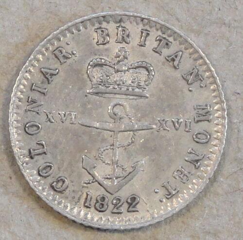 British West Indies 1822 1/16 Dollar KM-1 AU Anchor Coinage