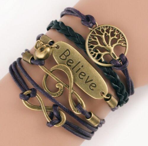 NEW-Hot-Infinity-Love-Anchor-Leather-Cute-Charm-Bracelet-Bronze-DIY-SL168
