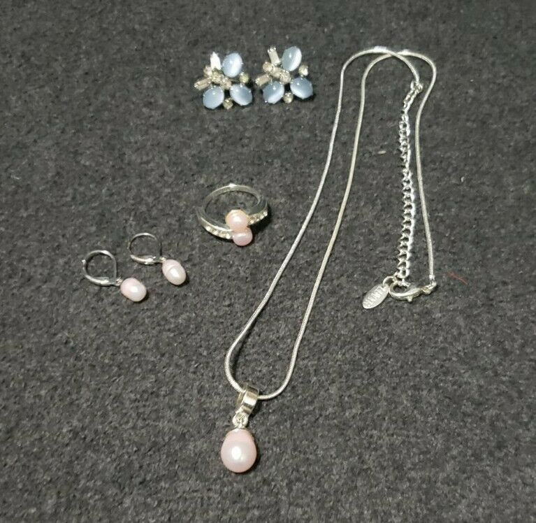 Lind Gal (LG) Screw Back Earrings & LBVYR Necklace/Earring/Ring Costume Jewelry