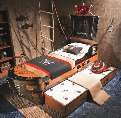 Kinderbett Schiffbett PIRAT mit Gästebett; Mast und Piratflagge, Piratenbett NEU