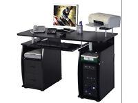 Black matt computer desk, keyboard tray, excellent condition