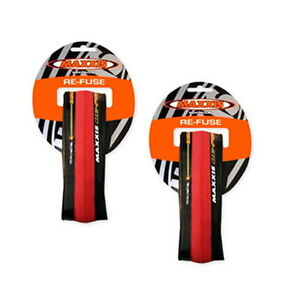 2 X MAXXIS RE-FUSE FOLDING ROAD BIKE TYRE 700 X 23C REFUSE RED