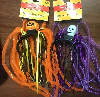 Spooky Village Halloween Flashing Head Band Bopper - Orange & Orange new lot of2